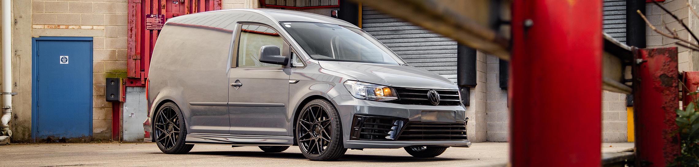 Nardo Grey Volkswagen Caddy with Riviera RF2 Hubolt Flow Formed Alloy Wheels